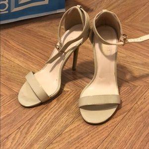 Cathy Jean beige nude ankle strap heels